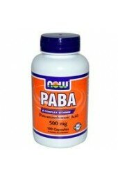 Now Foods,PABA, 500 mg,100т - Парааминобензойная кислота (витамин В10) (100 caps)